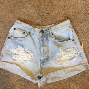High rise distressed Light blue shorts